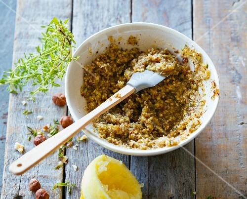 Homemade hazelnut and thyme pesto