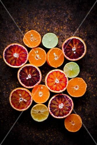 An arrangement of halved citrus fruits