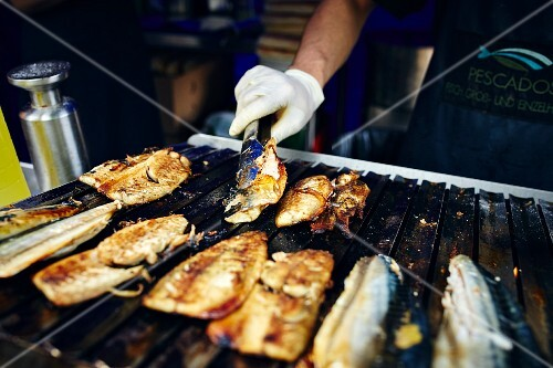 Fish being grilled, Turkey