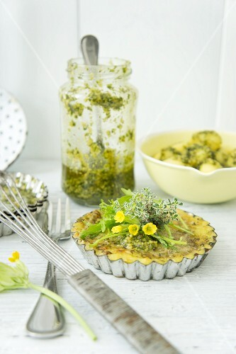 Omelette with thyme in a baking tin