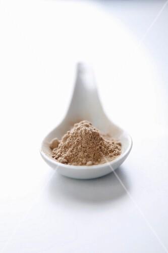 Amchur powder on a porcelain spoon