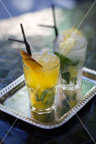 Two cocktails with mint, Marrakesh, Morocco