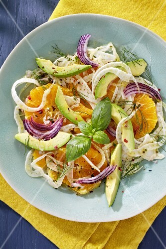 Orange salad with fennel, red onions and avocado