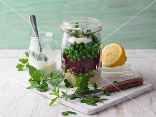 Beetroot tabbouleh in a jar