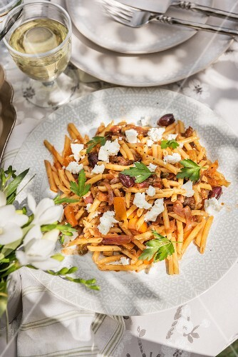 Pasta with fish, ricotta and olives