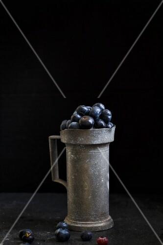 Blueberries in a rustic ceramic cup