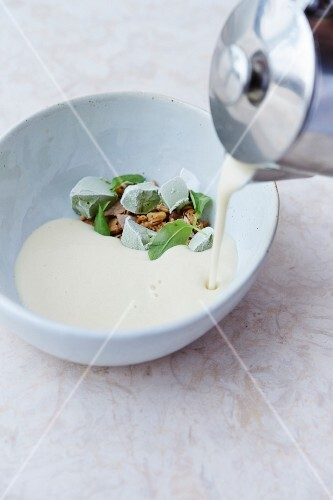 Celeriac soup with sorrel sorbet and cooked grains