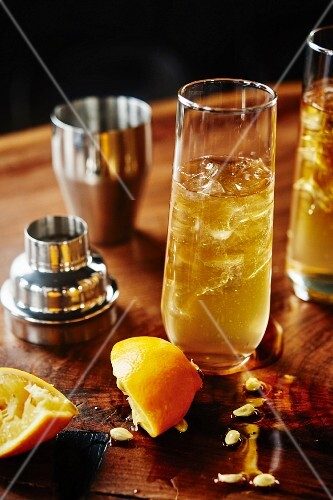 Collins Cocktail with gin, lemon juice and sugar syrup