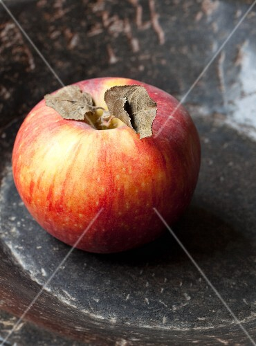 An apple with dried leaves in a stone bowl