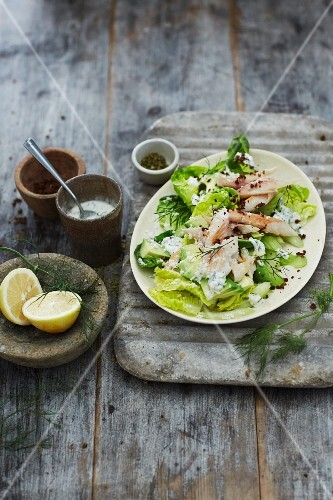 Trout avocado salad with dill and horseradish dressing
