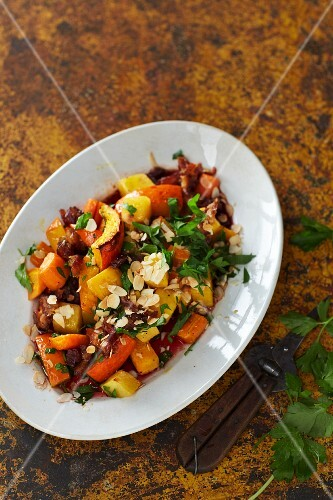 A salad of oven-baked vegetables with an oriental dressing