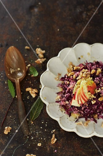 Red cabbage and apple salad with barley and a walnut vinaigrette