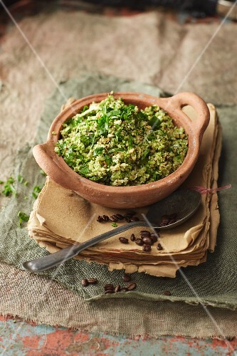 Romanesco and hazelnut tabbouleh with a coffee dressing