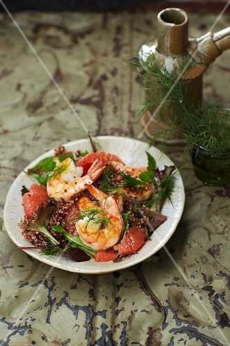 Prawn and grapefruit salad with quinoa and a grapefruit vinaigrette