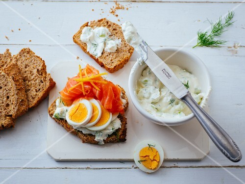 Smoerrebroed with salmon and hard-boiled eggs