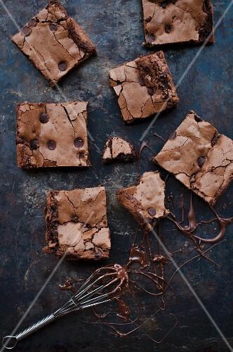 Chocolate brownies, sliced