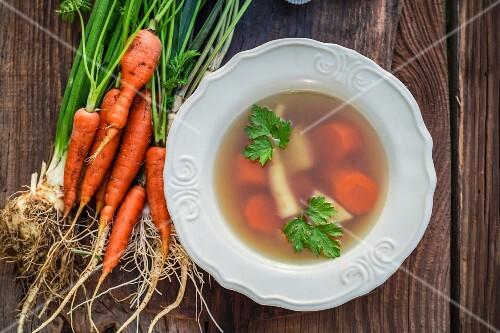 Homemade fresh vegetable broth