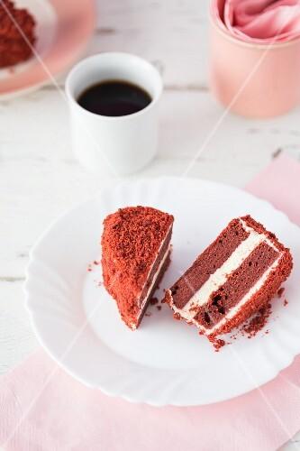 Heart-shaped Red Velvet cake, halved