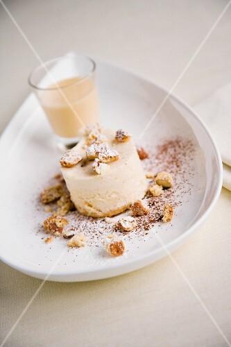 Semi freddo con cantucci e crema inglese (Semi freddo with cantucci and custard, Italy)