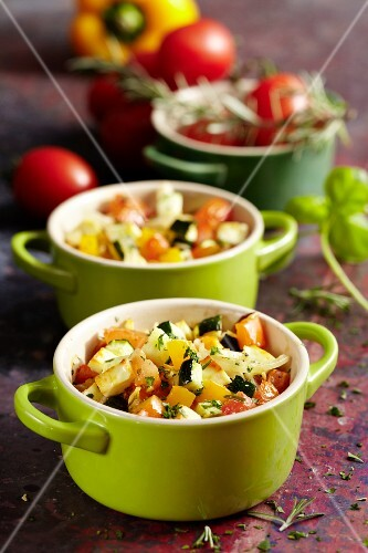 Vegetable cocottes with sheep's cheese