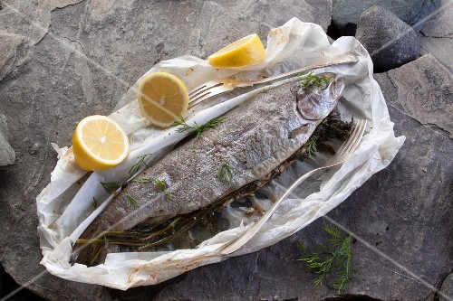 Roasted whole trout with dill and lemon in parchment paper