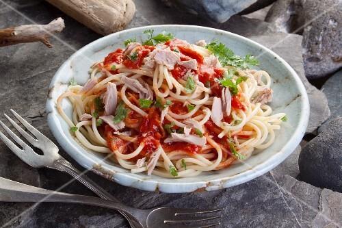 Spaghetti with tuna fish and tomato sauce