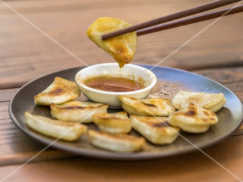 Momos (dumplings from Nepal) with a dip