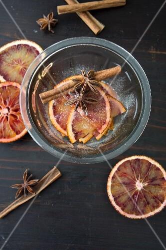 Blood orange slices preserved in Grand Manier and sugar