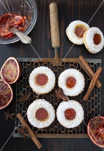 Jam sandwich biscuits with blood orange marmalade