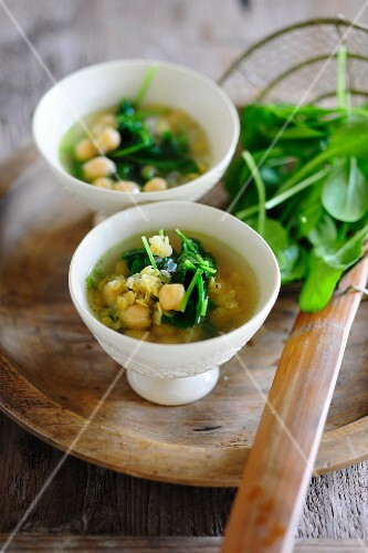 Bowl of Chickpea and Spinach Soup
