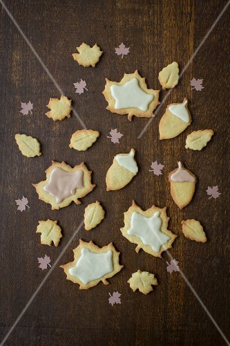 Leaf-shaped maple syrup biscuits