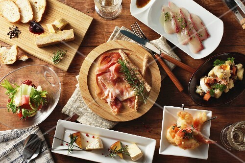 Various Spanish tapas (seen from above)