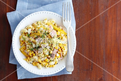 Pasta salad with egg, ham, sweetcorn, peppers, beansprouts and mayonnaise