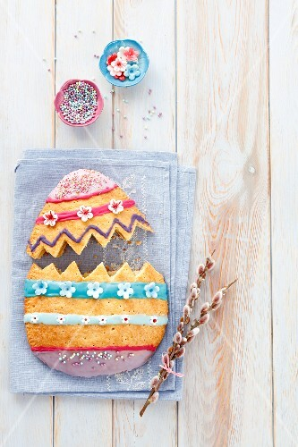 A shortbread Easter egg filled with almonds