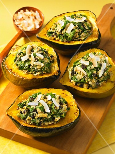 Acorn squash filled with chickpeas