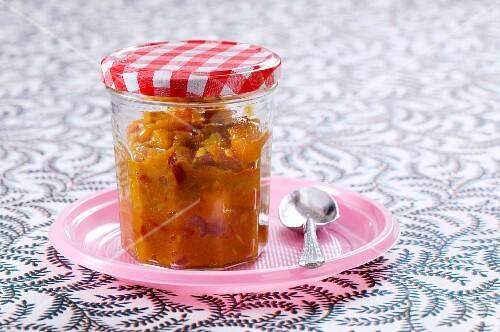 A jar of chutney
