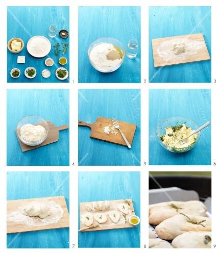Brotfladen mit Kräuterbutter zubereiten