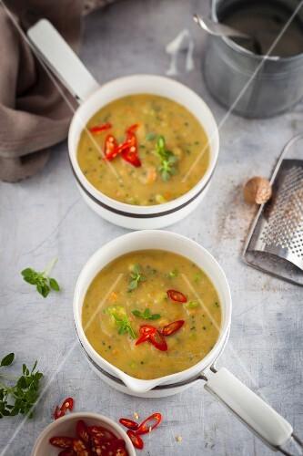 Gemüsesuppe mit Chiliringen