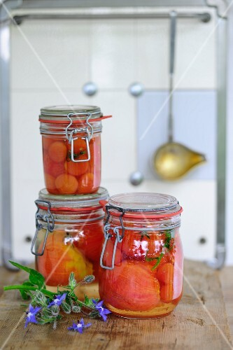 Preserved tomatoes in jars in a kitchen