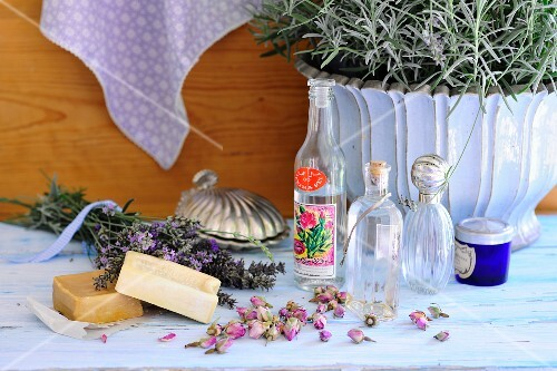 Scented soaps, lavender flowers, rosebuds and rosewater