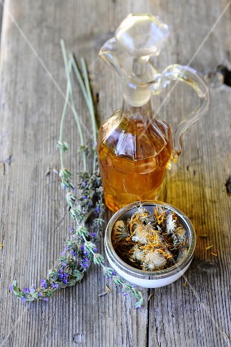 Lavender oil and dried medicinal herbs