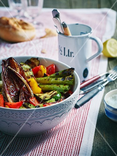 Grilled Italian vegetables with herb oil