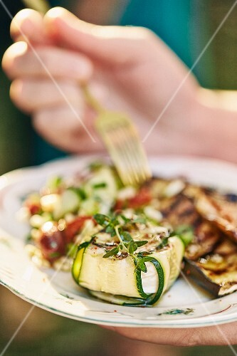Grilled courgette and goat's cheese parcels