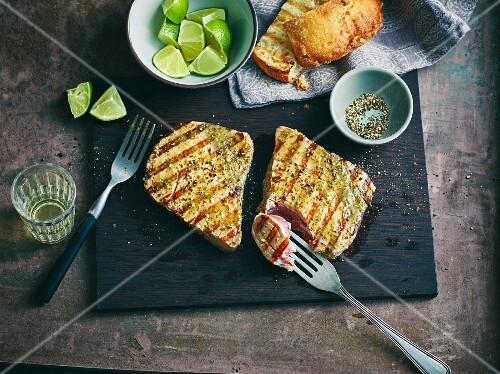 Grilled, marinated tuna fish steaks