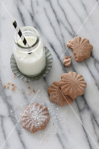 Gluten-free chocolate biscuits with icing sugar