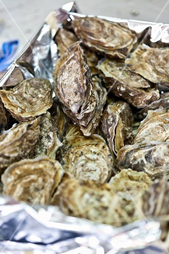 A crate of fresh oysters from Marennes-Oleron (France)