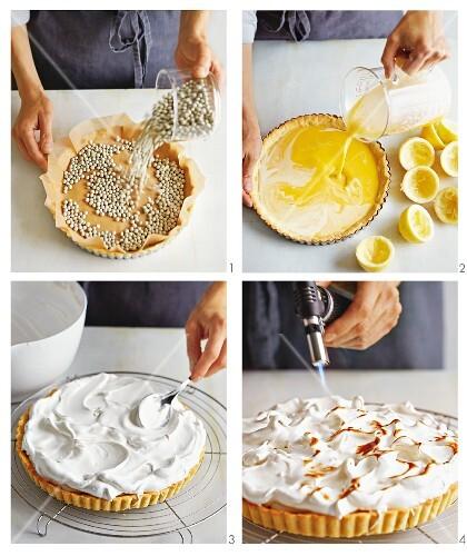 Lemon meringue tart being made