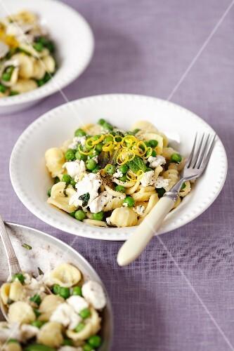 Orecchiette pasta with green peas, ricotta and mint