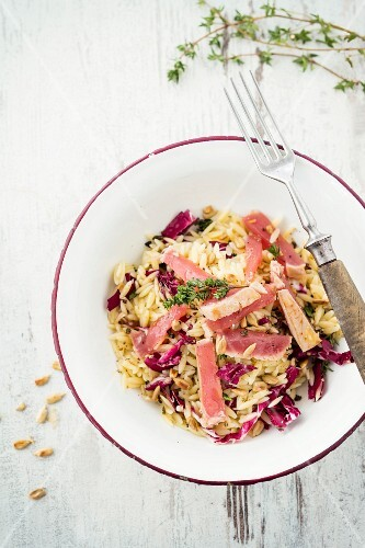 Pasta salad with tuna fish and sunflower seeds