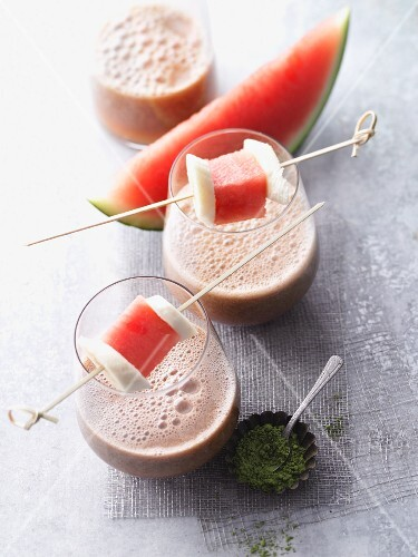 A watermelon and banana smoothie with matcha and baobab